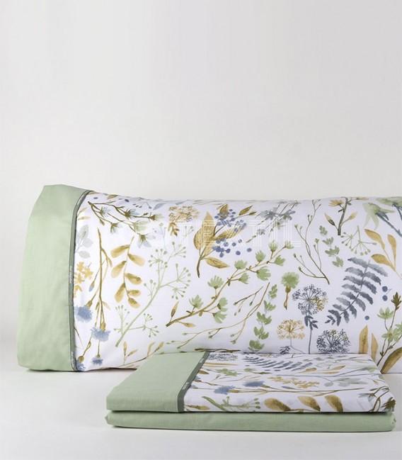 GOTEXTIL Juego de Sábanas AMARI verde DON ALGODÓN cama de 150cm