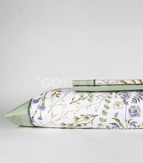 GOTEXTIL Juego de Sábanas AMARI verde DON ALGODÓN cama de 150cm Sábanas
