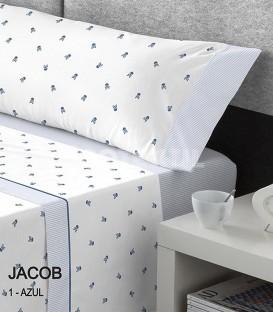 GOTEXTIL Juego Sábanas Calaveras Estampadas JACOB AZUL cama 150cm Kabely CATOTEX