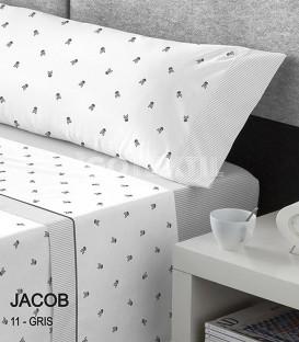GOTEXTIL Juego Sábanas Calaveras Estampadas JACOB GRIS cama 150cm Kabely CATOTEX