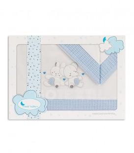 GOTEXTIL Sabanas cuna 100% Algodón CONEJO ELEFANTE 03260 Blanco/Azul. Interbaby Packaging
