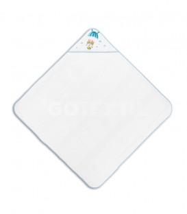 GOTEXTIL Capa de baño PARACAIDISTA 01228 Blanco/Azul 100x100cm Interbaby Extendida