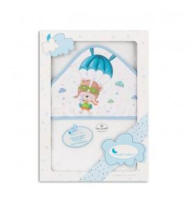 GOTEXTIL Capa de baño PARACAIDISTA 01228 Blanco/Azul 100x100cm Interbaby Packaging