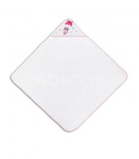 GOTEXTIL Capa de baño PARACAIDISTA 01228 Blanco/Rosa 100x100cm Interbaby Extendida