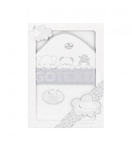 GOTEXTIL Capa de baño THREE ANIMALS 01218 Blanco/Gris 100x100cm Interbaby Packaging