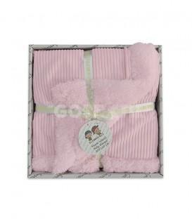 GOTEXTIL Manta Infantil Borreguito 10481 color Rosa 80x110 Gamberritos