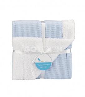 GOTEXTIL Manta Bebe Nido Abeja Borreguillo Azul 868 INTERBABY