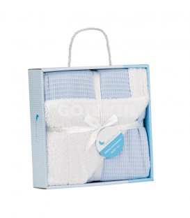GOTEXTIL Manta Bebe Nido Abeja Borreguillo Azul 868 INTERBABY Pack Regalo