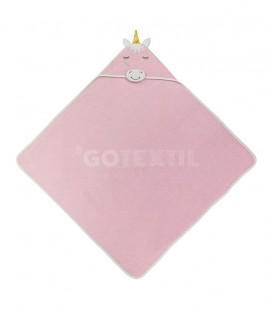 GOTEXTIL Capa de baño UNICORNIO 01206 Rosa 100x100cm Interbaby Extendida