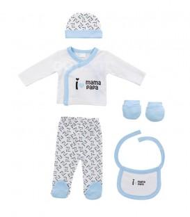 GOTEXTIL Set Regalo 5 piezas 0-6 meses I LOVE PAPÁ MAMÁ azul Interbaby Ropa Bebé