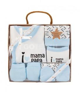 GOTEXTIL Set Regalo 5 piezas 0-6 meses I LOVE PAPÁ MAMÁ azul Interbaby