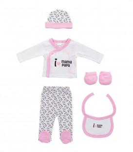 GOTEXTIL Set Regalo 5 piezas 0-6 meses I LOVE MAMÁ PAPÁ rosa Interbaby Ropa Bebé