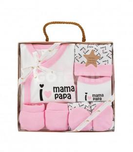 GOTEXTIL Set Regalo 5 piezas 0-6 meses I LOVE MAMÁ PAPÁ rosa Interbaby