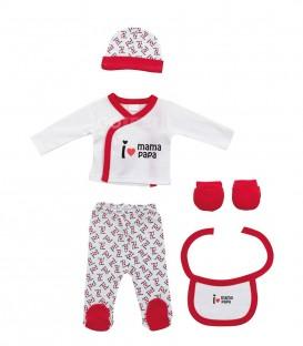 Set Regalo Bebé 5 piezas 0-6 meses I LOVE MAMÁ PAPÁ rojo Interbaby GOTEXTIL Ropa Bebé