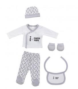 Set Regalo Bebé 5 piezas 0-6 meses I LOVE MAMÁ PAPÁ gris Interbaby GOTEXTIL Ropa Bebé