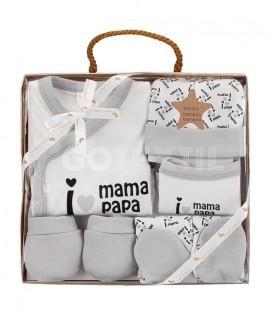 Set Regalo Bebé 5 piezas 0-6 meses I LOVE MAMÁ PAPÁ gris Interbaby GOTEXTIL