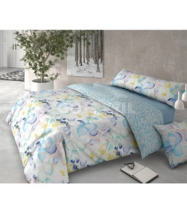 GOTEXTIL Funda Nórdica Pierre Cardín reversible HOJARASCA azul cama 150cm