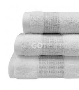 GOTEXTIL Juego de toallas Algodón NOOR Blanco Plata gran calidad. Vidal Home