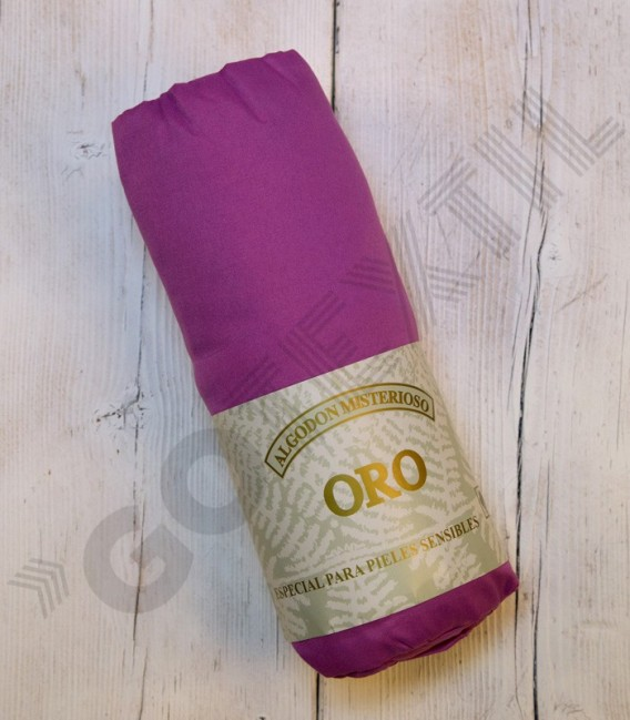 Sábana bajera ajustable serie Oro de algodón 100% color lila