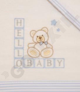 Juego de Cuna Franela Algodón 100% azul modelo Hello Baby Denenes