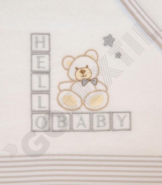 Juego de Minicuna y Coche Franela 100% Algodón color blanco/gris modelo Hello Baby Denenes