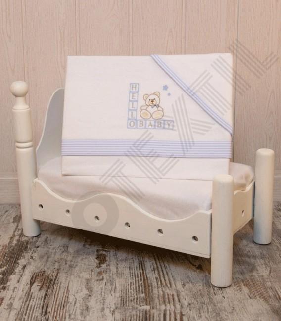 Juego de Minicuna y Coche Franela 100% Algodón color blanco/azul modelo Hello Baby Denenes