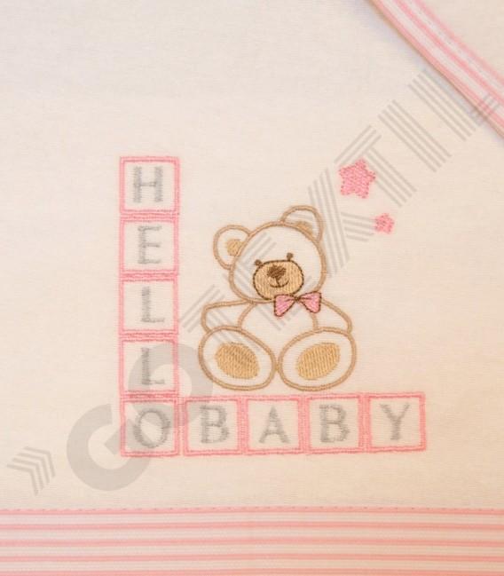 Juego de Minicuna y Coche Franela 100% Algodón color blanco/rosa modelo Hello Baby Denenes