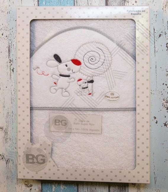 Capa de baño Piruleta Blanco/gris. 100x100cm