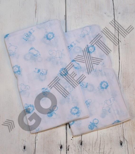 Pack 2 Gasas de Bebé algodón Estampadas Azul
