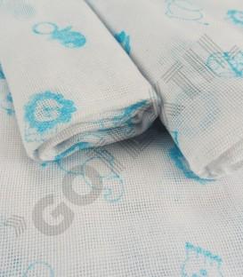 Pack 4 Gasas de Bebé algodón Estampadas Azul