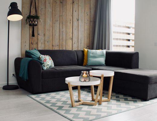 Salón minimalista con toques nórdicos muy acogedor
