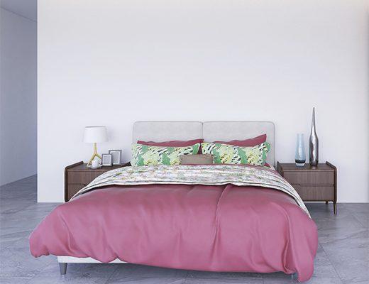 Dormitorio amplio con edredón nórdico sobre cama